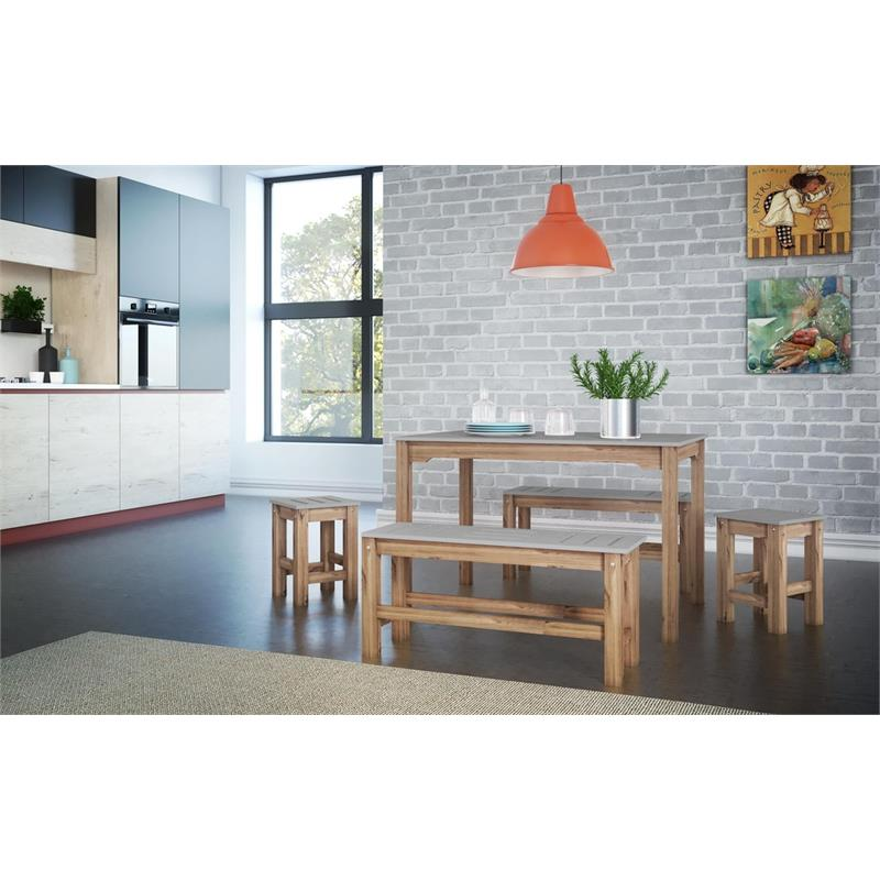 """5-Piece Stillwell 47.25""""  Dining Set  in Gray and Natural Wood"""