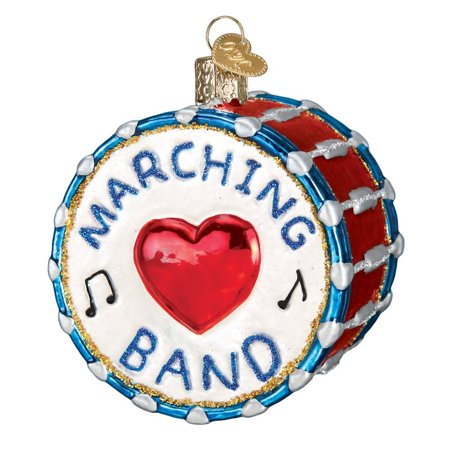 Old World Christmas Marching Band Drum Glass Ornament 38052 FREE BOX Music New ()