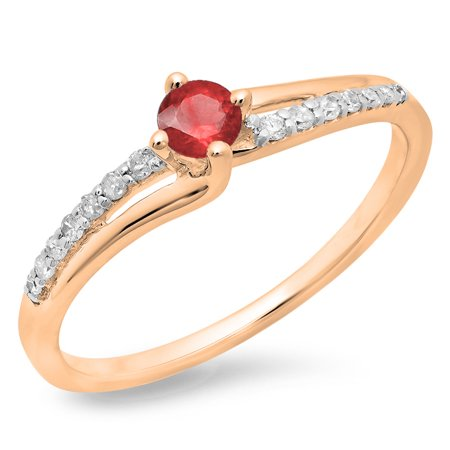 Gold Diamond & Ruby Ring (0.33 Carat (ctw) 10K Rose Gold Round Cut Ruby & White Diamond Ladies Bridal Wave Promise Engagement Ring 1/3 CT )