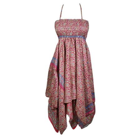 823d2ce306 Mogul Interior - Mogul Womens Bohemian Halter Dress Handkerchief Hem ...