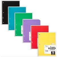 Mead Spiral 1 Subject College Ruled Notebook 6 Pack, Assorted Colors (73065)