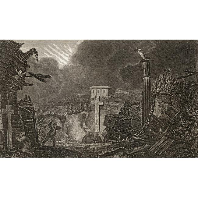 Commencement of The Earthquake At Messina 1783 Engraved by Berry After Poster Print, 19 x 11 - image 1 de 1