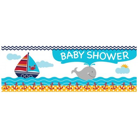 Creative Converting Ahoy Matey Nautical Baby Shower Banner](Ahoy Its A Boy Baby Shower Theme)
