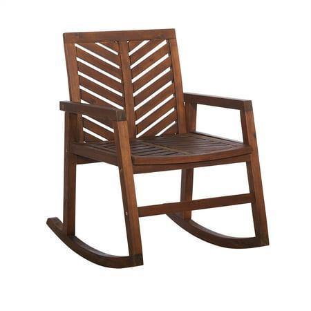 Outdoor Wood Patio Chevron Rocking Chair - Dark Brown ()