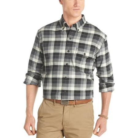 IZOD Cotton Twill Button Down Plaid Flannel Shirt Black & White Small -