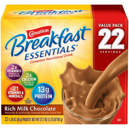 Carnation Breakfast Essentials Powder Drink Mix, Rich Milk Chocolate, 1.26 oz. Packets, 22 Count