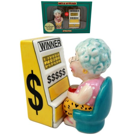 "Ebros Gift Casino Jackpot Slot Machine Queen Salt & Pepper Shakers Ceramic Magnetic Figurine Set 3.5""L"
