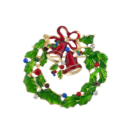 Wreath Fashion Pin (Lux Accessories Holiday Festive Christmas Xmas Wreath Bells Stone Brooch Pin )