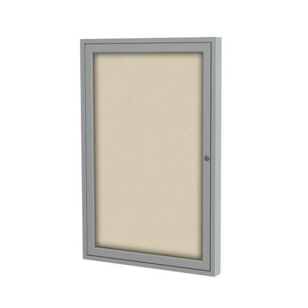 PA13636F-90 Notice Board Ghent 1 Door Aluminum Satin Frame Enclosed Fabric Bulletin Boards , 3