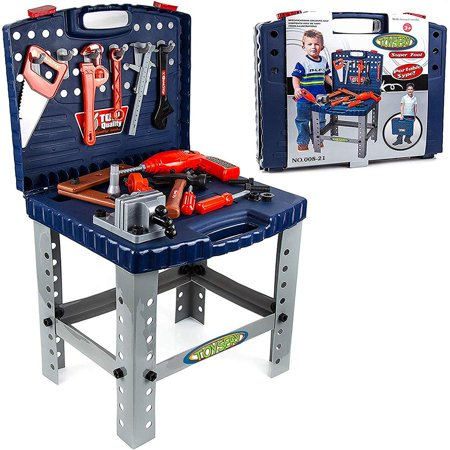 Toysery Kids Workbench Toy Tool Set - Portable or Stand-up Realistic Tool Kit and Workbench Educational Pretend Role Play Set - Best Gifts for Toddlers, Children, Kids, Boys &