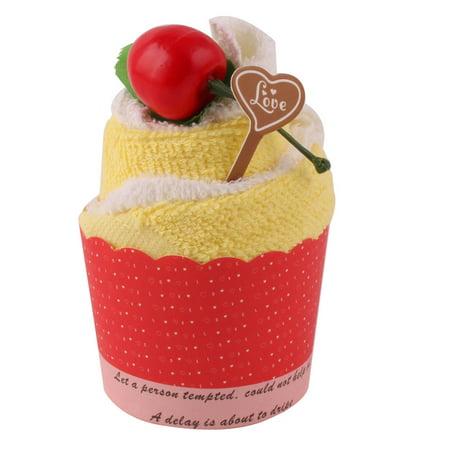Wedding Yellow White Microfiber Cupcake Design Cherry Decor Gift Hand Cake Towel