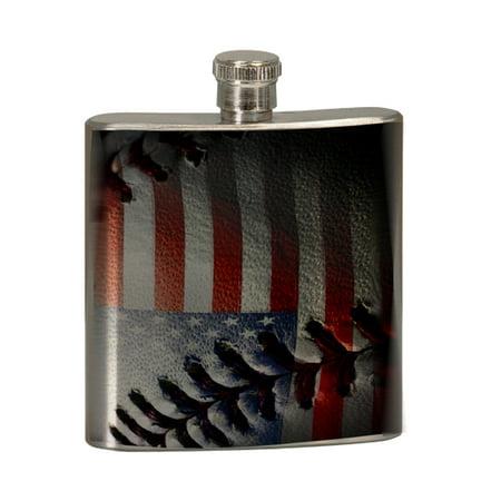 KuzmarK 6 oz. Stainless Steel Pocket Hip Liquor Flask - American Flag Baseball Stitch Baseball 6 Ounce Flask