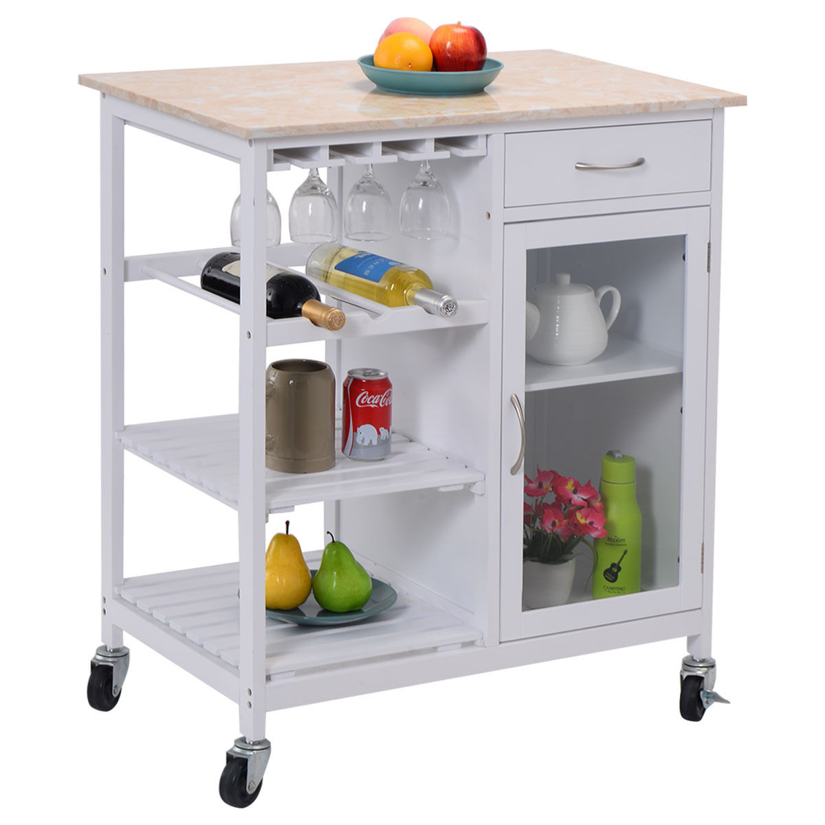 costway portable kitchen rolling cart faux marble top island serving utility wcabinet