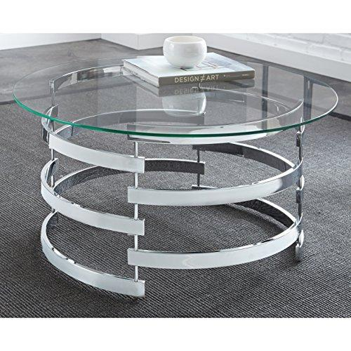 Modern Round Glass Top Coffee Table with Chrome Open Base