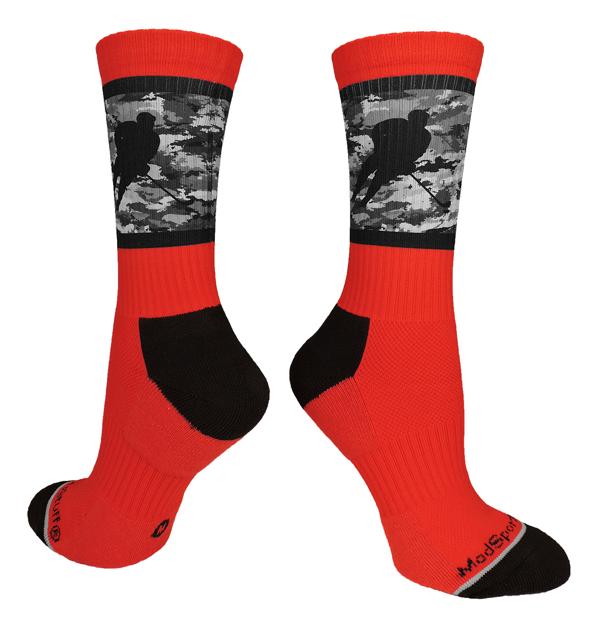 Hockey Player Crew Socks (Red/Black Camo, Small)