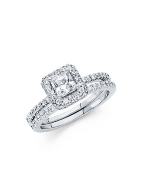 14K Solid White Gold Halo Solitaire Cubic Zirconia Engagement Ring with Matching Wedding Band, Size 7.5