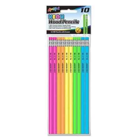 (4 Pack) 10 #2 HB NEON Pencils with Eraser