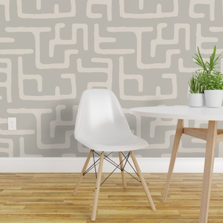 Peel and Stick Removable Wallpaper Kuba African Tribal Pewter Beige