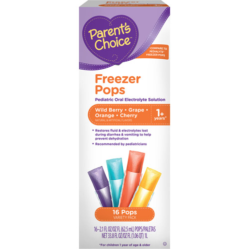 Parent's Choice Freezer Pops Wild Berry/Grape/Orange/Cherry Oral Rehydration Solution, 16 count