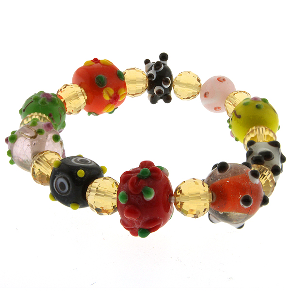 "7.5"" Multicolor Stretchable Handcrafted Murano Glass Beads Adjustable Bracelet"