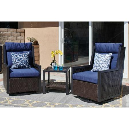 Strange 3 Piece Outdoor Swivel Glider Chair Set With Table Dark Brown Navy Machost Co Dining Chair Design Ideas Machostcouk