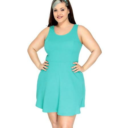 5508473b833 BASILICA - Women s Plus Size Skater Dress w Strappy Cut-Out Back ...