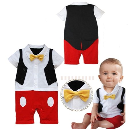 Baby Boy 3D Bow Ties Mickey Mouse Photo Props Rompers Jumpsuit Onesie Outfits Set (Bow Tie Onesie)