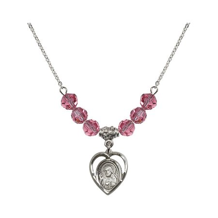 18-Inch Rhodium Plated Necklace with 6mm Rose Pink October Birth Month Stone Beads and Scapular Charm