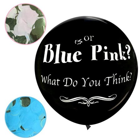 JennyGems Jumbo 36 Gender Reveal Pop Confetti Balloon With Blue and Pink Confetti Packets - Baby Shower Party Balloon Supplies and Decorations - Blue or Pink? What Do You Think?