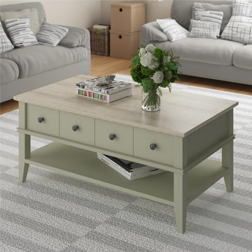Ameriwood Home Newport Coffee Table, Light Gray Light Brown by Ameriwood Home