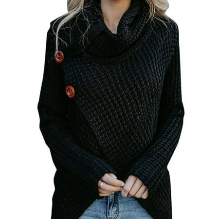 Womens Winter Long Sleeve Knit Sweater Polo Neck Oversized Chunky Tops Jumper Pullover
