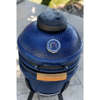 """Lifesmart Deen Brothers Series 15"""" Blue Kamado Ceramic Grill Value Bundle Includes Electric Starter Cooking Stone and Cover"""