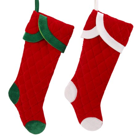 Classic Jumbo Christmas Quilted Velvet Stocking Decoration Holiday Indoor Decor