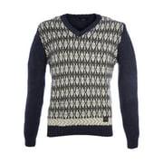 Pal Zileri Men's Wool Blend V-Neck Argyle Sweater  IT 50 Navy Blue