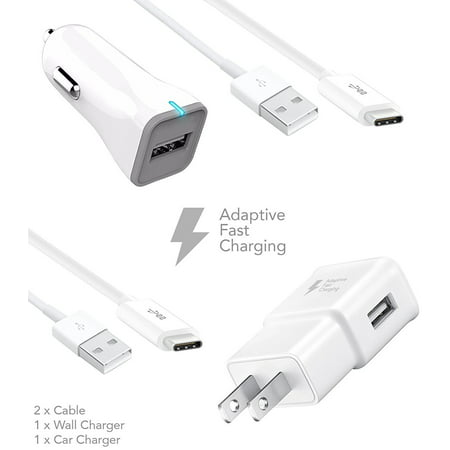 ZTE Axon 7 mini Charger Fast Type-C USB 2 0 Cable Kit by Ixir - {Fast Wall  Charger + Fast Car Charger + 2 Type-C Cable}