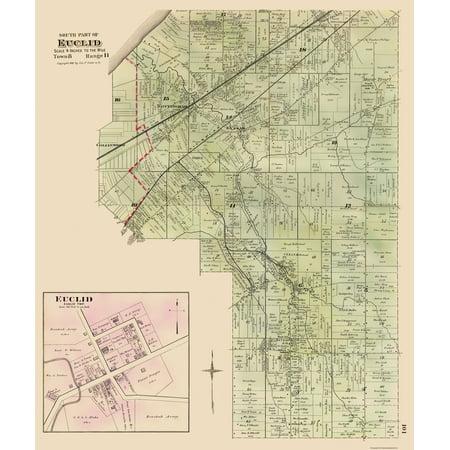 Old City Map - Euclid, Southern Ohio Landowner - Cram 1892 - 23 x 27.26