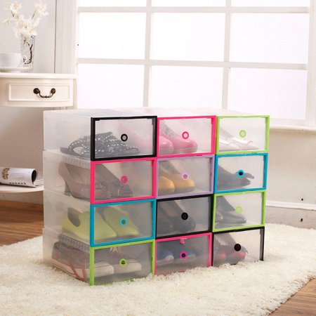 Dilwe 5PCS Closet Storage Organizer Transparent Plastic Stackable Shoe Box Case Home Storage Container Office Organiser