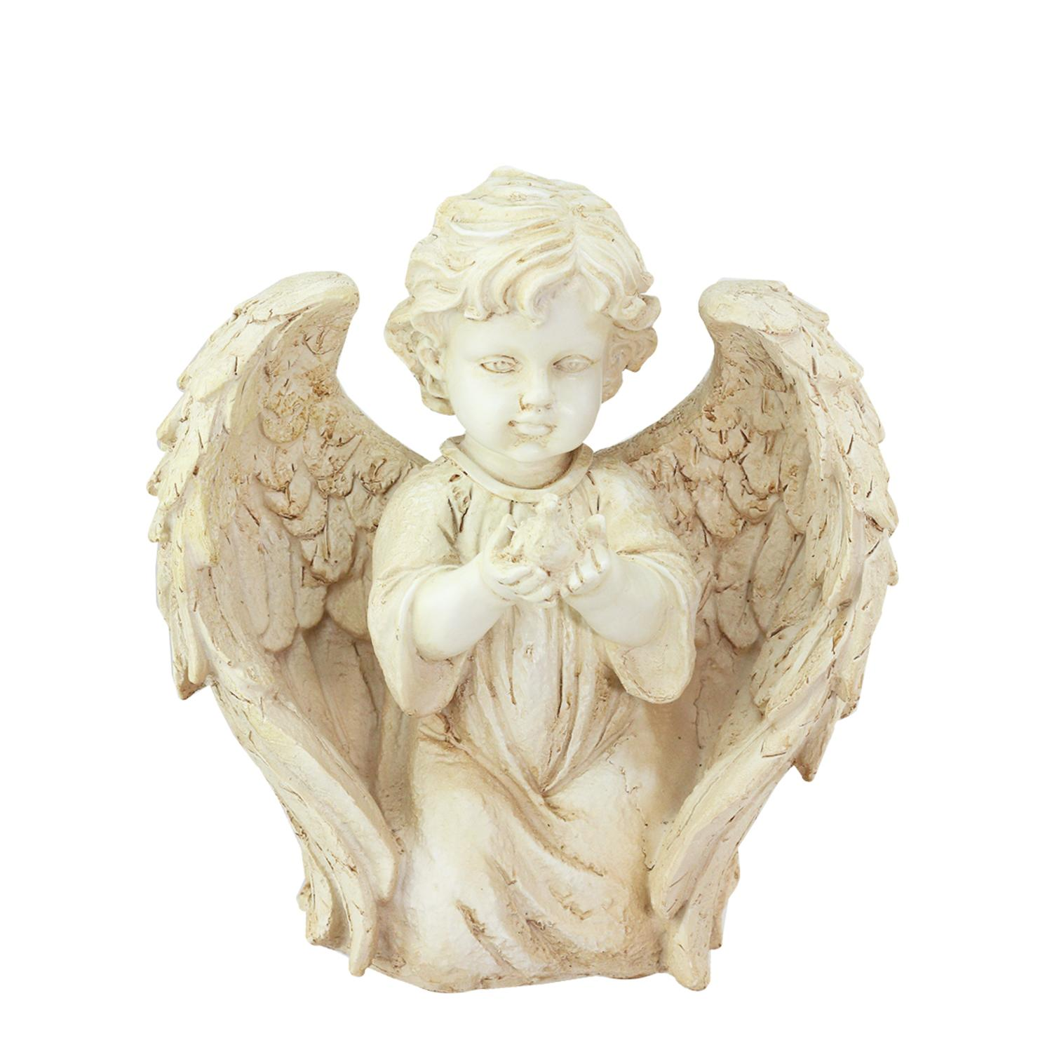 "10"" Heavenly Gardens Distressed Ivory Kneeling Cherub Angel with Dove Outdoor Patio... by Northlight"