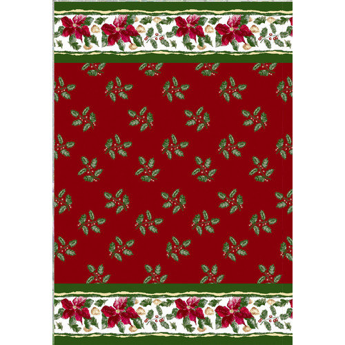 Carnation Home Fashions Christmas Floral Holiday Print Shower Curtain Set