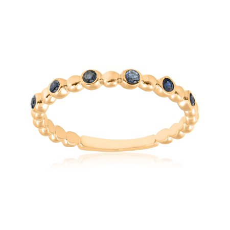 14k Yellow Gold Blue Sapphire Ring 1/8ct Womens Stackable Beaded -