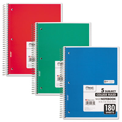 Spiral Bound Notebook, Perforated, College Rule, 10 ? x 8, White, 180 Sheets, Sold as 1 Each