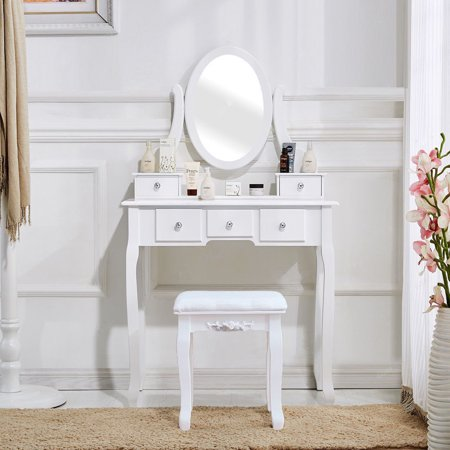 Zimtown White Vanity Set 5 Drawer Makeup Dressing Table Jewelry Oval