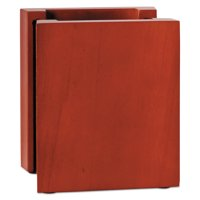 Rolodex Wood and Faux Leather Pencil Cup, 3 3/8 x 3 1/3 x 4 1/8, Black/Mahogany
