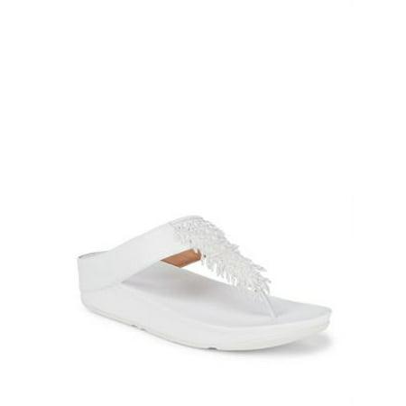Rumba Embellished Leather Toe-Thong Sandals