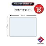 Magnetic Photo Holders for Refrigerator - Magnetic Photo Picture Frames - White Magnetic Photo Pockets - Holds 4x6 Photos  (30 Pack)