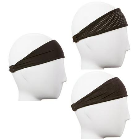 Headband Gift - Hipsy Xflex Adjustable & Stretchy Sports Sweat Headbands for Men Gift Pack (Mixed Black Xflex Band 3pk)