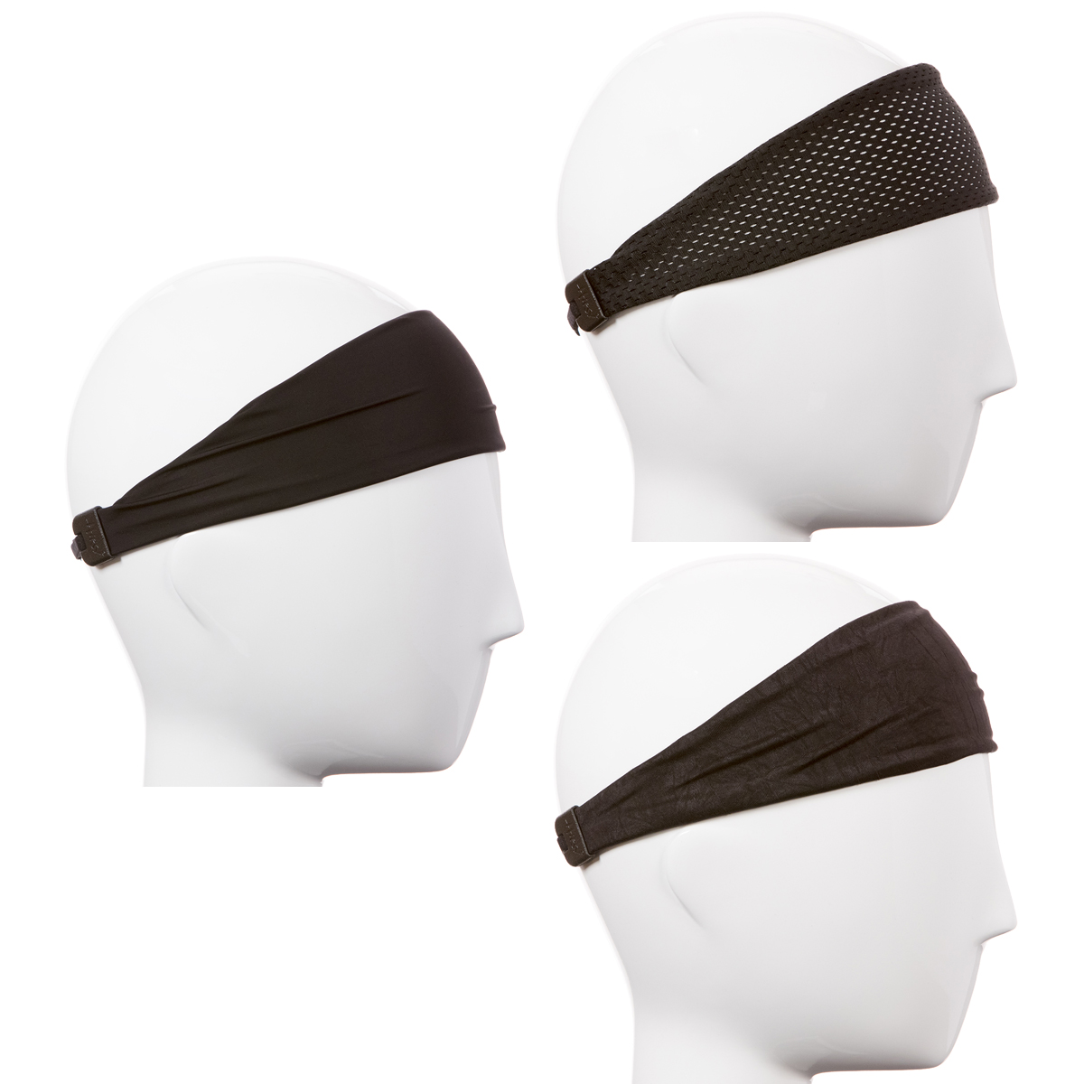 Hipsy Xflex Adjustable & Stretchy Sports Sweat Headbands for Men Gift Pack (Mixed Black Xflex Band 3pk)