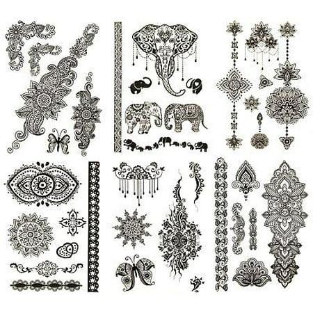 Terra Tattoos Black Henna Tattoos - 75 Mehndi and Henna Temporary Tattoos in