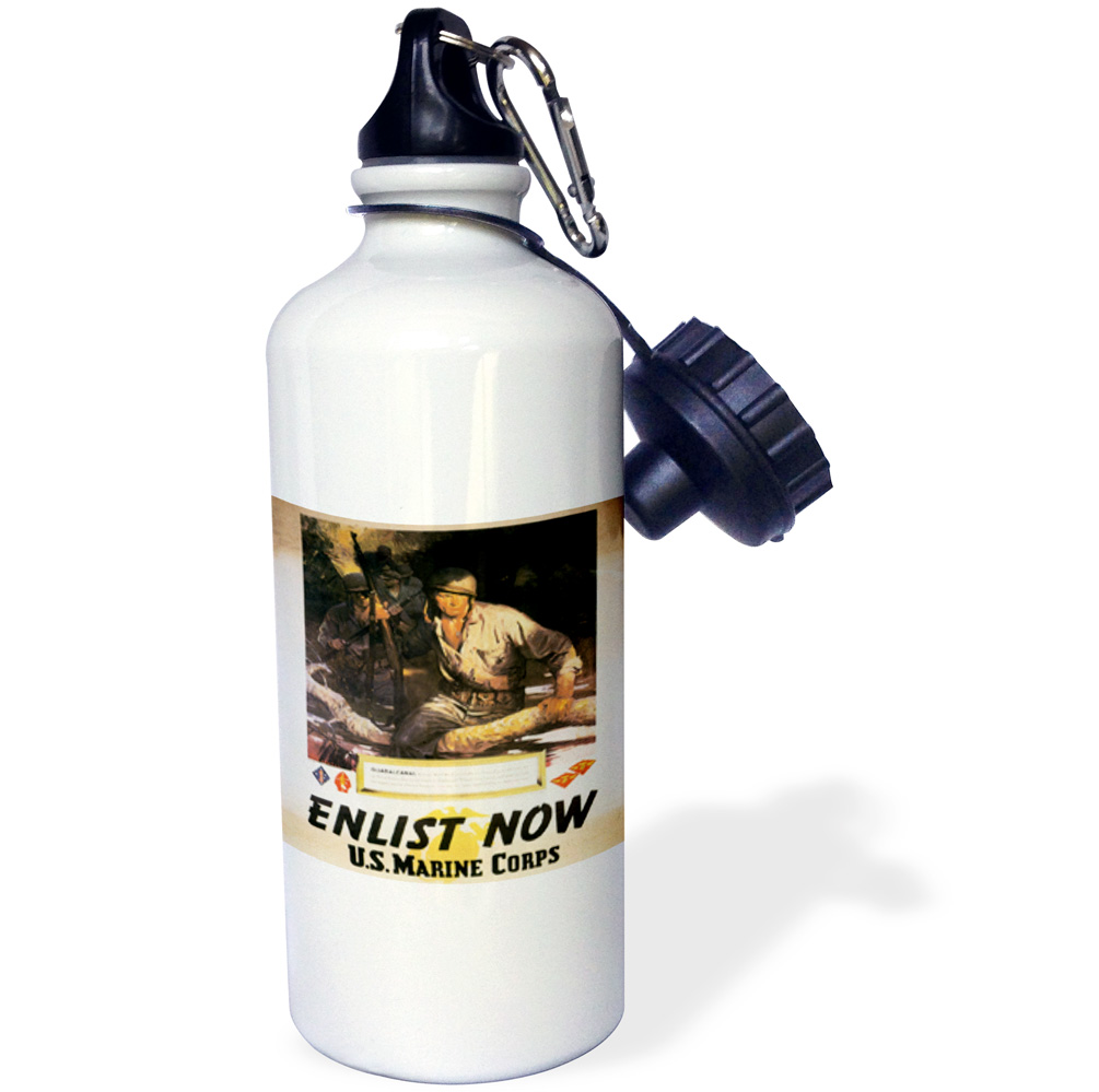 3dRose Vintage Enlist Now US Marine Corps Guadal Canal Enlistment Poster, Sports Water Bottle, 21oz