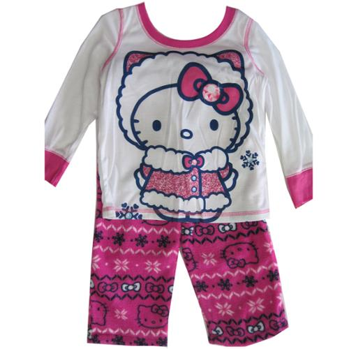 Hello Kitty Girls Fuchsia Kitty Folk Motif Print 2 Pc Pajama Set 8-10